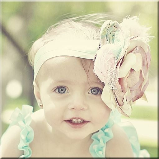 wood photo of baby girl with flower head band