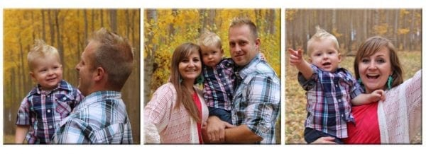 three horizontal wood photo collage of family photo shoot in autumn setting
