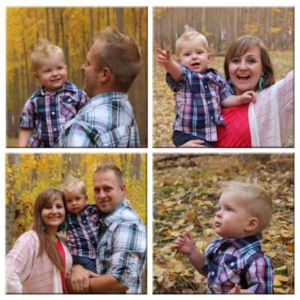 4 square wood photo collage of family photo shoot in autumn setting