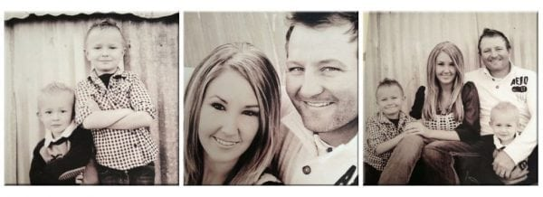 three wood photo horizontal collage in black and white of family portraits
