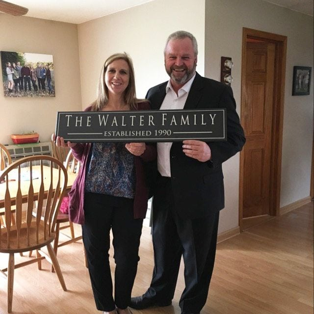 Walter Family Anniversary Gift, Off white wood sign with family name, and established date in tan.
